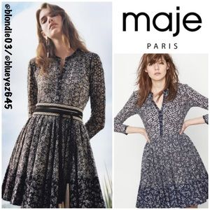 "Maje ""Rayana"" blue eyelet dress 2(US M)"